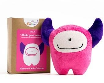 """DIY sewing kit """"make your monster"""" - DIY plush monster kit - stocking stuffers for kids - diy craft kits - monster sewing pattern"""