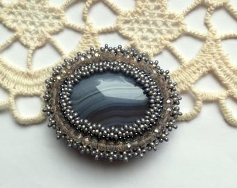Agate Brooch, Bead embroidered Brooch, Grey Agate Brooch, Beadwork Brooch , Handmade Jewelry