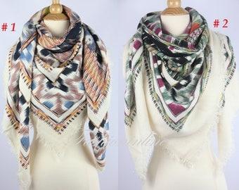 New Plaid Blanket Oversized Tartan Scarf Wrap Shawl Multi Color–Brown & Green Pattern