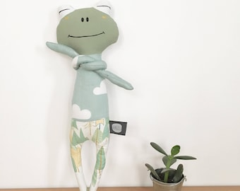 Frog plush fabric for baby and child hand painted face