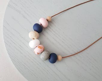 Pink Polymer clay necklace/ Pink navy and white clay beaded necklace/ polymer clay jewelry/ beaded necklace /  birthday gift/pink and navy