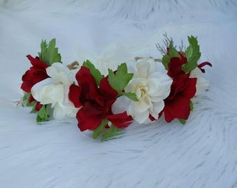 Red and White Floral Halo ~ Baby Headbands ~ Photo Prop ~ Newborn ~ Infant ~ Toddler ~ Girls ~ Ladies ~ One Size ~ Tieback ~ Lace ~Christmas