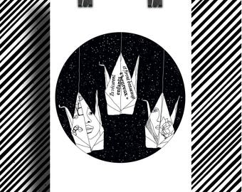 Poster Print Illustration origami / Black and White Art