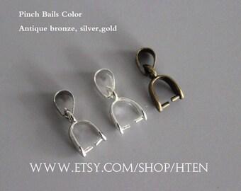 30pcs Pinch Bails 14mm 16mm 20mm Pendant Bails Antique bronze/silver/ k white /gold