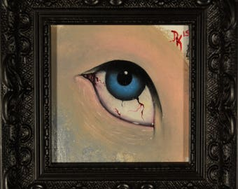 "Original oil painting - Eye Study #2 - 4""x4"""