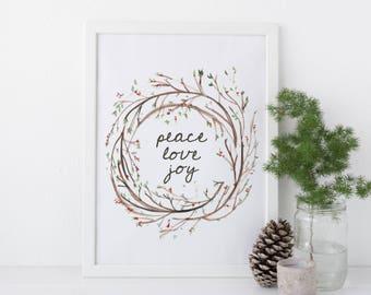 Christmas printable art, Christmas Decor, Christmas Printables, Holiday Prints, Christmas Prints, Christmas Wall Art, Xmas Wreath Poster