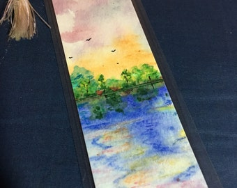 Scripture on original hand-painted watercolor bookmark
