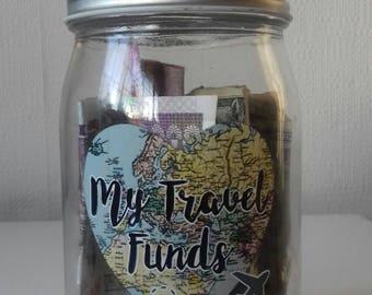 Travel fund. Travel gift. Savings jar. Adventure fund. Piggy bank. Coin jar