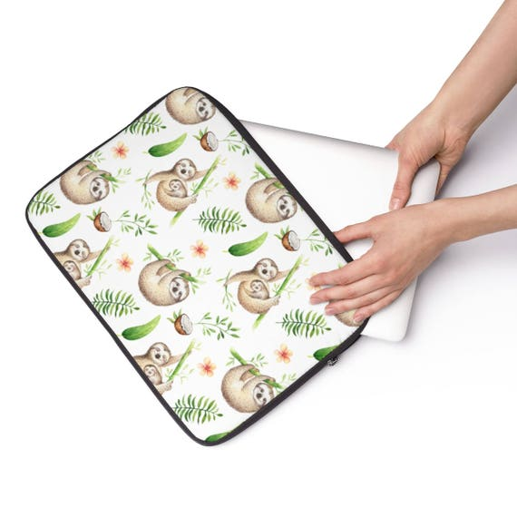 Laptop Sleeve Sloth Pattern  - Available in 3 sizes