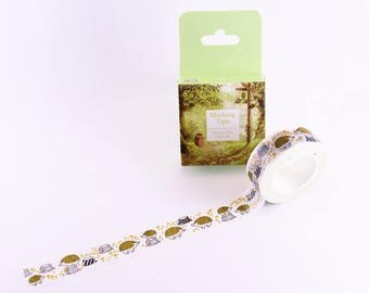 masking tape / washi tape (the little hedgehog in the forest) WT0205