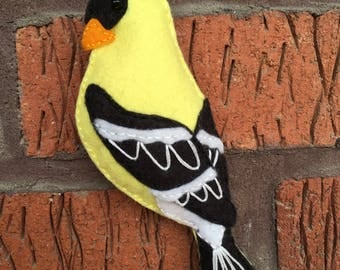 Hand Embroidered Wool Blend Felt Goldfinch Ornament