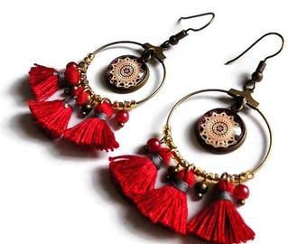 Hoop tassel earrings * mandala Burgundy / gold * bronze cabochon glass fairy carabochon bohemian gypsy hoop earrings