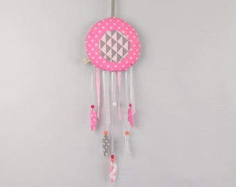 Dream catcher musical plush musical Mobile baby Reversible original birth decor gift idea nursery baby girl pink gray