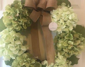 Spring Wreath, Hydrangea Wreath, Door Wreath