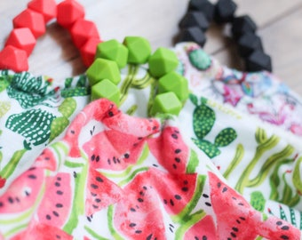 Baby Lovey Blanket Comfort Blanket Lovey Teether Silicone Beads Silicone Teether Baby Shower Gift Watermelon Blanket Watermelon Lovey