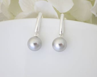 Pearl earring, Swarovski pale gray earring, Simple sterling silver drop earring, Business casual pearl earring