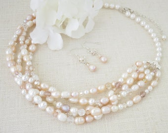 Wedding jewelry set, Blush multi strand braided necklace and earring set, Pastel pink freshwater pearl and Swarovski crystal bridal set