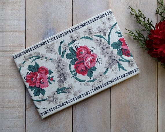 Personalized Wedding Guest Book - Antique Floral Irish Linen - Lined or Unlined