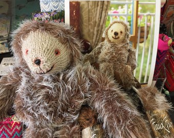 """Knitting pattern """"Sloth"""" for faux fur yarn from James C Brett to knit a furry cuddly friend or as a gift for someone special JB282"""