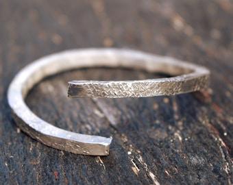 6 GAUGE stacking bangle, sterling silver bangle, rustic bangle,handmade silver stacking bangle,thick silver bracelet,unique,anniversary gift