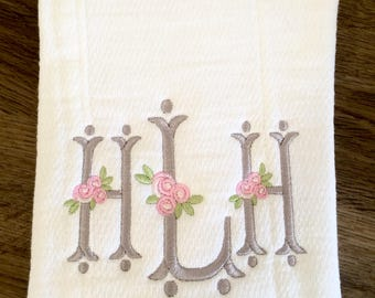 Burp Cloth with Rose Accent Monogram