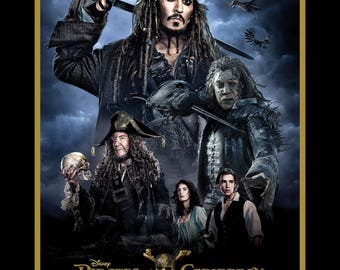 Pirates of the Caribbean 36 Inch Panel / Jack Sparrow Character Panel / Disney Pirates of the Caribbean Fabric Panel