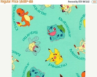 SALE Pokemon Character on Aqua Fabric, Pokemon Fabric, Pikachu, Kaufman 72015-70 AQUA  / Yardage. Pokemon by the Yard / Pokemon Go Quilt