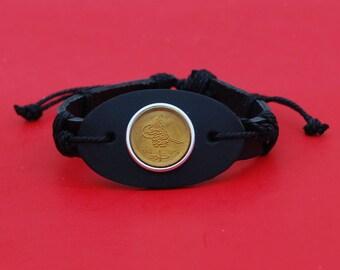 Egypt 1984 1 Piastre Gem BU Uncirculated Coin Genuine Black Leather Cuff Bangle Wristband Bracelet NEW