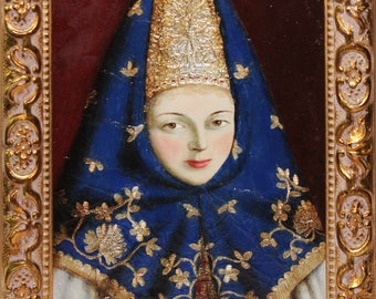 Vintage Oil Portrait of Young Woman-Traditional Russian Headdress with Gold Leaf