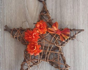 "Rustic Wood Star - Star Vine - Door Hanging - Rustic Star - Autumn - Fall Decor - Natural Wood Star - Twig Star - Wood Star - 10"" Star"
