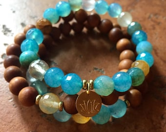 Joy, Warmth + Harmony Stack of 3 Spiritual Junkies Sandalwood, Citrine + Blue Agate Yoga Bracelets w/Hill Tribe Gold Lotus