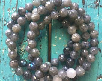 Intuition | Labradorite + Moonstone | Spiritual Junkies | Yoga + Meditation |Single Stackable Mala Bracelet | 8 mm