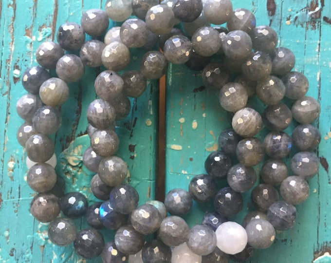 Intuition   Labradorite + Moonstone   Spiritual Junkies   Yoga + Meditation  Single Stackable Mala Bracelet   8 mm