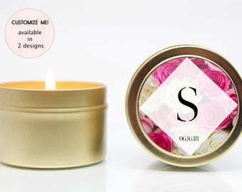 Custom Wedding Favors Candles - Soy Candles - Gold - Floral