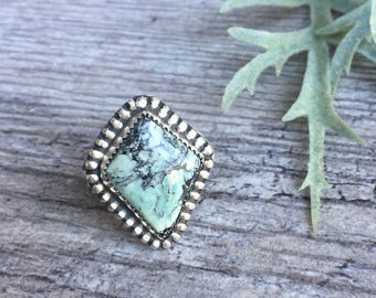 variscite ring, green turquoise ring, sterling silver variscite ring, geometric statement ring, Cassiopeia variscite ring, variscite jewelry