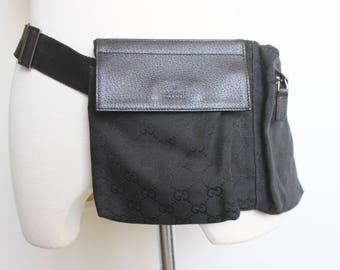 Vintage GUCCI Black Original Canvas Belt Bag with Signature Logo and Adjustable Web Strap