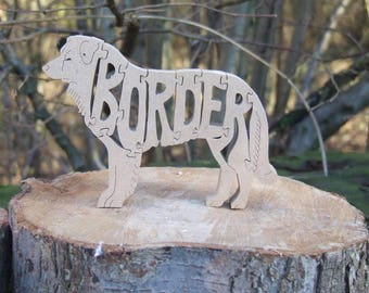 unique gift, puzzle, Handmade, Border collie, Border, Collie, gift for dog lover, wooden, husband gift, custom gift,