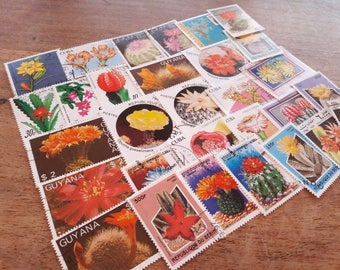 25 Cactus Postage Stamps. Worldwide