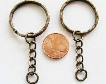 5 ANNEAUX PORTE-CLES métal couleur Bronze 25mm  + chaine 2,5cm création bijoux loisirs