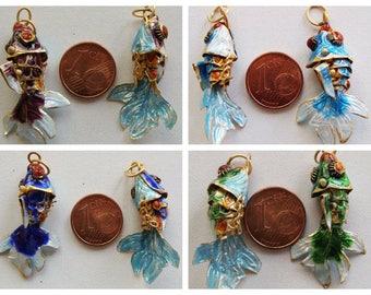 1 pendentif POISSON 35mm métal cloisonné articulé DIY création bijoux Déco animal