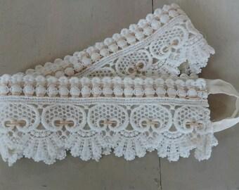 pair of vintage macrame lace tiebacks