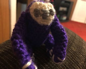 Crocheted purple Baby Sloth