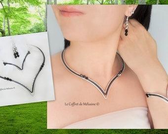 "Set wedding necklace and bracelet in silver and black V ""Eledrä"""
