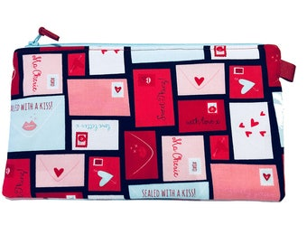 Love Letters Multi Purpose Pouch, Makeup Bag, Gadget Bag, Pencil Case, Small Craft Project, Valentines Gift, Handmade in the UK