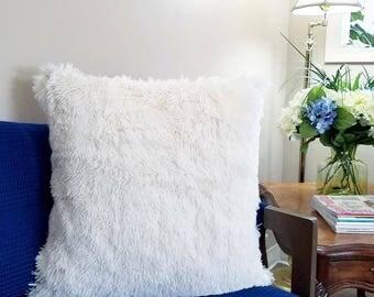 Faux Fur Throw Pillow/ Linen Pillow