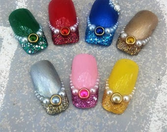 Glitter dipped mermaid square tip gloss finish false nails seashell accent rhinestone and pearl any color glue included RazzleMyDazzleStudio