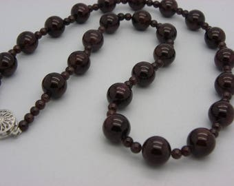 Burgundy 10 mm natural Garnet stone necklace natural stone from and 4 mm