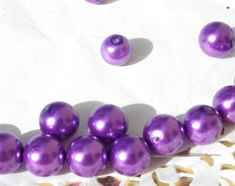 a beautiful 50 8 mm purple Pearl glass beads dyed Pearl