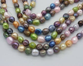 54 multicolored Baroque pearls of 5 x 6 mm Baroque iridescent