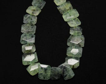 Natural Green Prehnite Faceted Freefom Rectangle Shape Loose Beads,Polished Raw Gemstone Sliced Beads Pendant Jewelry,Center Drilled